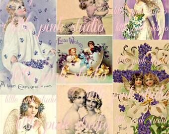 Lovely Lavender Easter,  Printable Collage Sheet (digital download, printable)