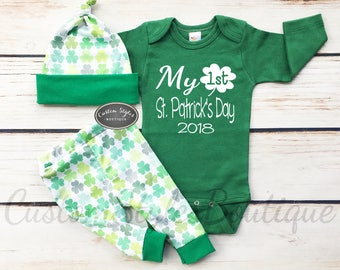 Baby Boys First St. Patrick's Day Outfit, My 1st St Patrick's Day,Pants & Hat With Green Shamrocks,Green Bodysuit,Baby's 1st St. Patty's Day