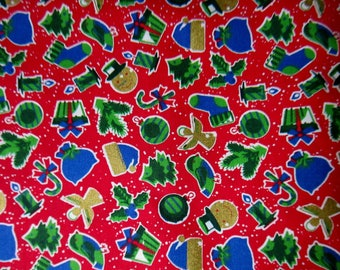 100% cotton fabric red pattern Christmas