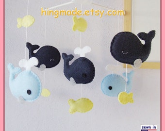 Baby Mobile, Baby Crib Mobile, Nursery Decor, Whale Mobile, Fish Mobile, Navy Blue Whale family, Custom Mobile