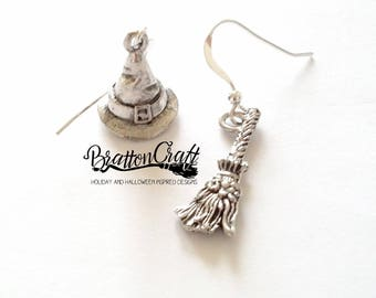 Silver Witch Hat and Broom Earrings - Wizard Hat Earrings - Witch Broom Earrings - Fun Halloween Earrings - Samhain