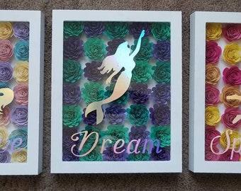 Unicorn, mermaid and fairy shadow box flowers
