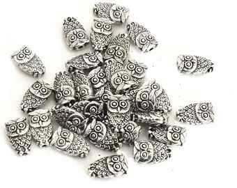 Beads OWL of Tibetan silver antique10x6x4 mm bead spacers - metal beads
