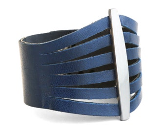 Royal Blue Leather Bracelet, Blue Leather Cuff  - the Flare cuff