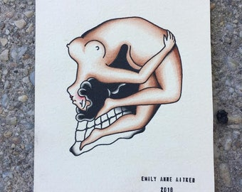Skull/ Girl Traditional Tattoo Flash Painting