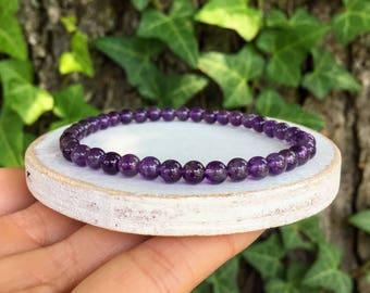 Amethyst Gemstones . Stretch Bracelet