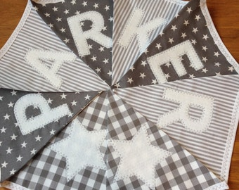 Personalised Name Personalized Name Boys Bunting Banner Grey White Gingham Stars Stripes Spots - Price per flag