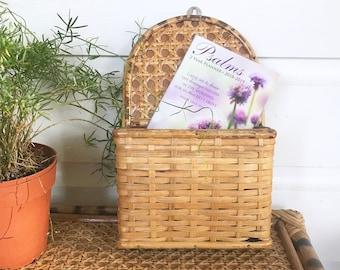 Vintage Woven Bamboo Letter Holder • Woven Rattan Cane Organizer • Bohemian Decor