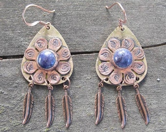 Native American Inspired Lapis Lazuli Mixed Metal Earrings