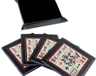 MahJongg Mahjong Coasters and tray,set of 4 faux leather