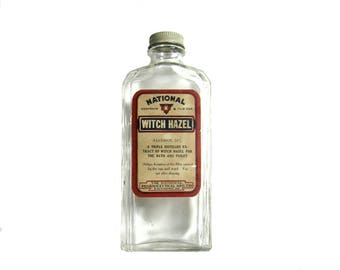 Vintage National Brand Witch Hazel Apothecary Medicine Bottle with Original Label and Lid