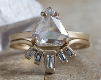 One of a Kind White Shield Cut Diamond Engagement Ring