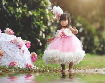 Couture feather dress, flower girl dress, girls dress, feather dress, toddler dress, feather tutu dress, tutu dress, photo prop, dress prop