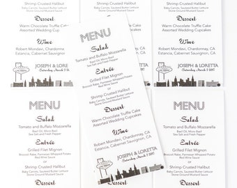 Las Vegas Menu Cards Custom Wedding Decor Handmade Bridal Sign Table Setting Special Event Welcome Sign
