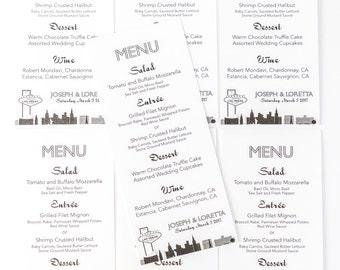 Las Vegas Menu Cards Custom Wedding Decor Handmade Bridal Sign Table Setting Special Event Welcome Sign
