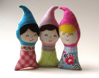 SALE gnome baby upcycled dolls / personalized handmade multicultural eco waldorf toys