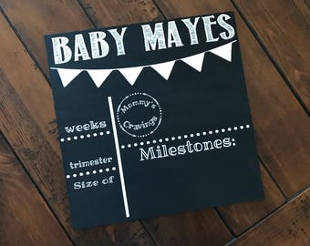 Pregnancy milestone chalkboard / personalized pregnancy chalkboard / weekly baby sign / custom week by week pregnancy sign