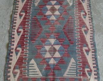 2'7''x3'7'' Blue Vintage Kilim, Oriental Kilim Rug, Handmade Turkish Rug