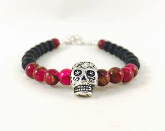 Candy skull bracelelt bracelet, skulls, pink and black bracelet, skull bracelet, skull jewelry, skeleton jewelry