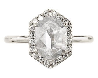 1.93 Carat Icy White Hexagon Halo Diamond Engagement Ring, 14k White Gold