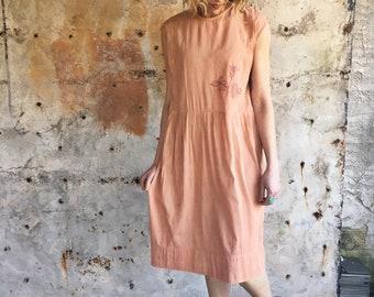 Topanga Canyon 1920s Cotton Gauze Hand Embroidered Peach Dress
