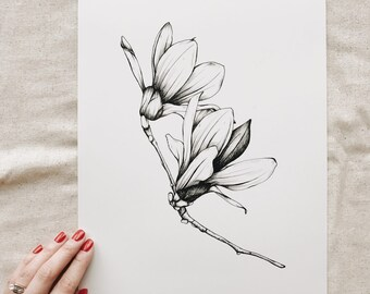 Orchid Flower Illustration Print, Giclee Print, Wall Art, Ink Print, Illustration, Flower Illustration. Black and White