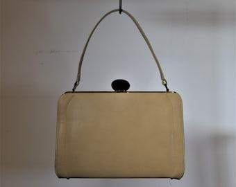 Beige Vintage Handbag 1960s Retro Top Handle Purse
