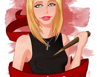 Buffy Slay Inspired - Fan Art  [ Print ] - by Denis Caron - Corvink