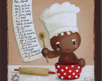 Acrylic painting on canvas: ingredients (gingerbread man)