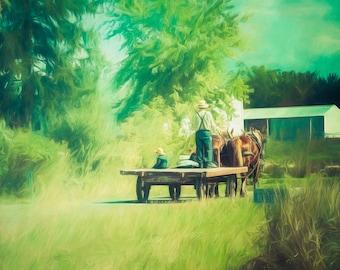 Amish Decor, Amish Farming, Home Decor, Country Decor, Country Wall Art, Rustic Decor, Farming Art, Kitchen Decor, Like Father Like Son