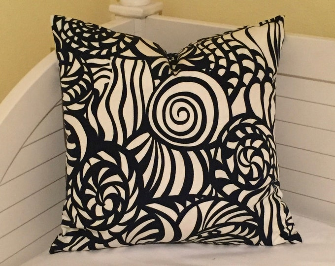 Schumacher Seashells in Navy (on Both Sides)  Indoor Outdoor Pillow Cover - Square, Lumbar and Euro Sizes