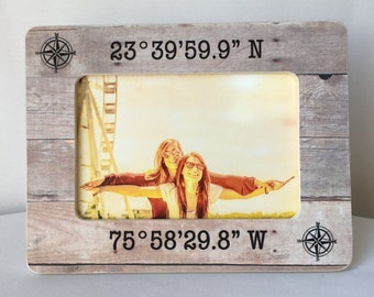 ON SALE Latitude Longitude Coordinates GPS Coordinates Frame Gift Long Distance Frame Personalized Picture Frame