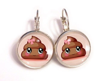 Poo emoji kawaii fairy kei earrings, tumblr style funny pastel goth jewelry
