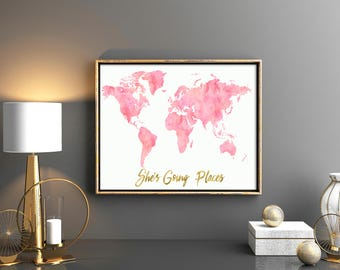 Girls room decor Pink world map pink map with gold quote She's going places baby girl nursery watercolor map nursery world map printable