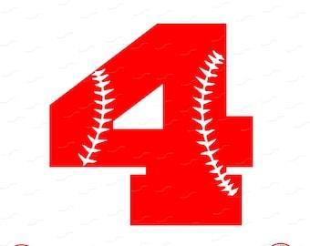 Digital Cut File, Monogram Baseball Numbers, Number 4, 4, Softball, Vinyl Cutting File, Baseball, SVG, DXF, EPS, Silhouette, Cricut