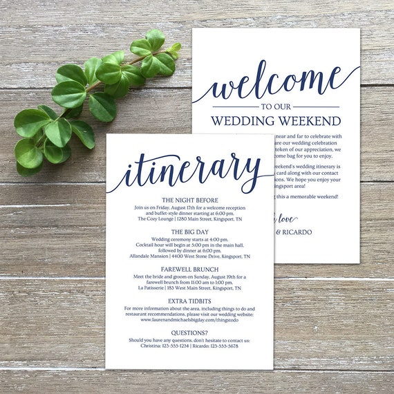 Wedding Itinerary Navy Welcome Letter Template Printable