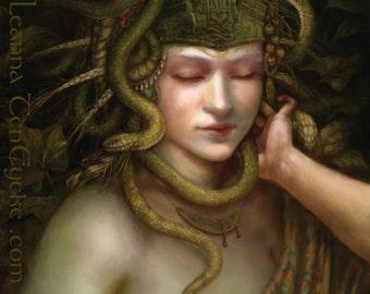 Fantasy Art Poster 16x20 Minoan Snake Goddess Digital Portrait Print Medusa Gorgon Greek Mythology Fertility Deity