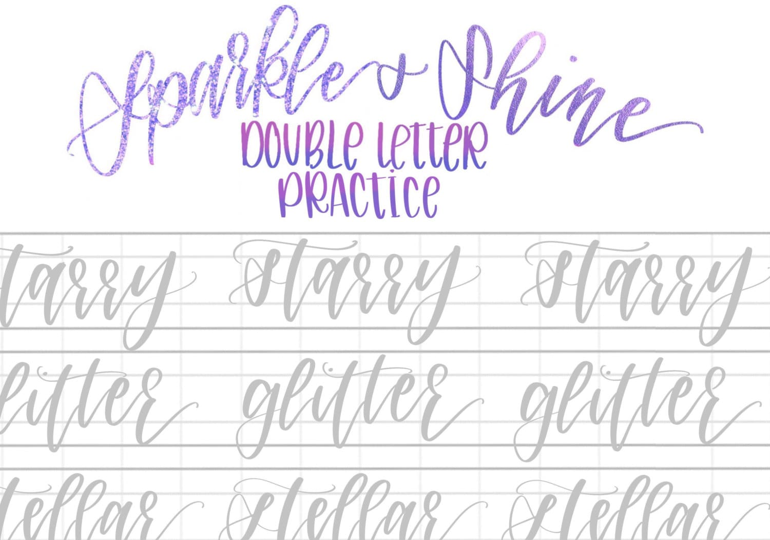 Worksheets Calligraphy Practice Worksheets hand lettering practice sheets sparkly double letter words