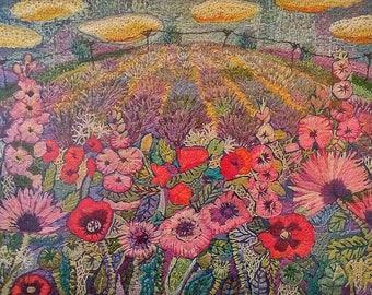 Norfolk Poppy Field hand embroidery