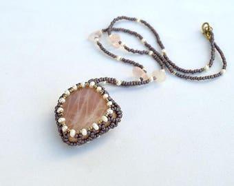 Rose quartz peddle pendant Pink and purple pendant Beadwork necklace with rose quartz Mineral jewelry with rose quartz Pink jewelry PN132