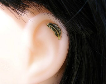 Gold Feather 16ga Stud , Helix piercing , Cartilage Earring , Helix Earring , Single