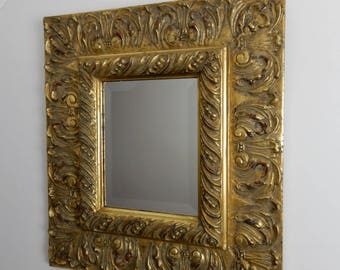 Antique gilt mirror,moulded wall, hall mirror, relief, raised detail