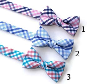 Boys Tattersall Bow Ties~Boys Bow Tie~Boys Plaid Bow Ties~Cotton Bow Tie~Navy Bow Tie~Church Tie~Plaid Bow Tie~Wedding~Ring Bearer~Gift