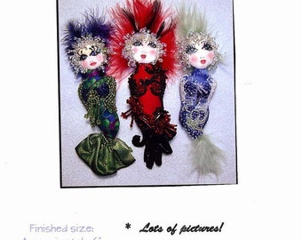 "Bubble Doo Mermaid 6"" Pin Doll Pattern By Caroline Erbsland Signed"