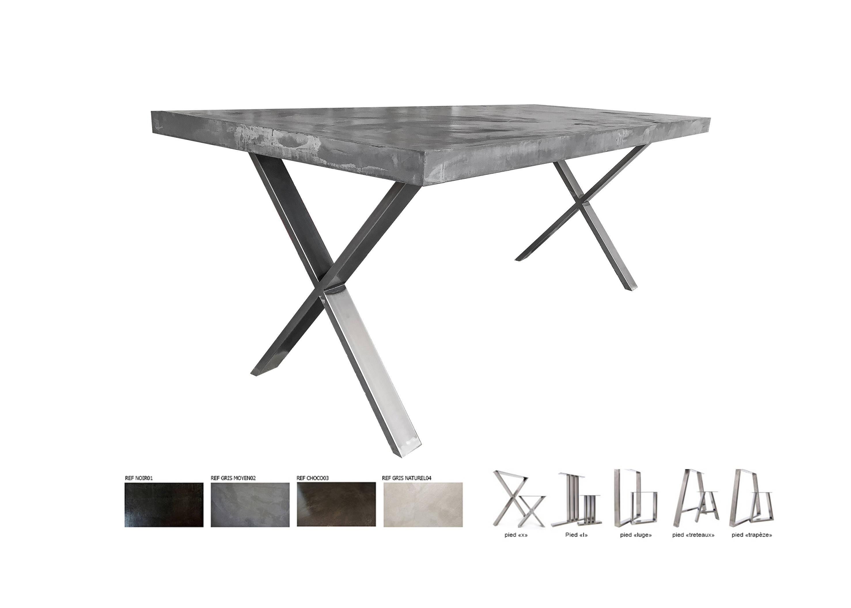Lightweight Ultra Polished Concrete Feet X Steel Table # Meuble Tv Treteaux
