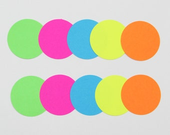 """50 Bright Color Circles die cuts, your choice of size, 1"""",1.5"""",2"""",2.5"""",3.5"""", great for tags, scrapbooking, baby shower"""