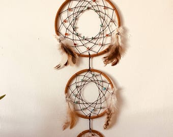 Tiered Dreamcatcher with Guinea Feathers, Howlite, and Red Agate