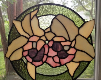 Cattleya Orchid Stained Glass