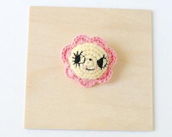 Pink and Yellow Flower Crochet Brooch | Handmade Crochet Pin, Handmade Brooch, Flower Brooch, Flower Pin, Pin Collector, Yarn Brooch