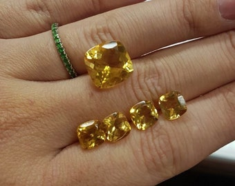 Yellow citrine optional size from 6x6 mm to 12x12 mm